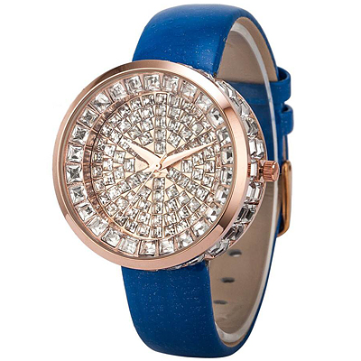 GORGEOUS MULTIPLE SPARKLING SWAROVSKI CRYSTAL AND ROYAL BLUE GENIUNE LEATHER LADIES WATCH