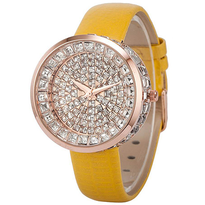 GORGEOUS SPARKLING SWAROVSKI CRYSTAL AND YELLOW GENIUNE LEATHER LADIES WATCH