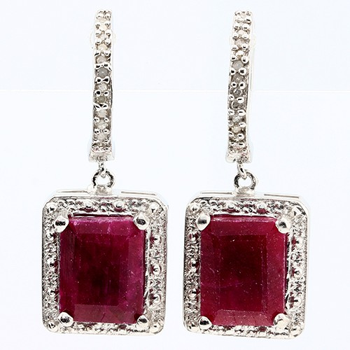 BRILLIANT 6.00 CT DYED RUBY & 24 PCS WHITE DIAMOND PLATINUM OVER 0.925 STERLING SILVER EARRINGS
