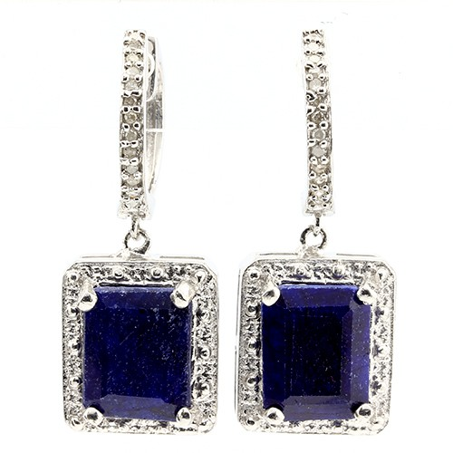 BEAUTIFUL 6.00 CT DYED SAPPHIRE & 24 PCS WHITE DIAMOND 0.925 STERLING SILVER W/ PLATINUM EARRINGS