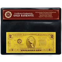 HOT ! US TWO DOLLAR 24K GOLD USA REPLICA BANK NOTE COA PVC PROTECTION