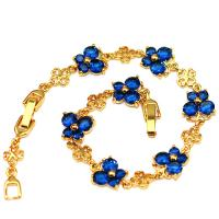 PRECIOUS ! CREATED SAPPHIRE 18K GOLD PLATED GERMAN SILVER BUTTERFLY BRACELET