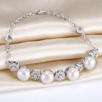 HIGH-CLASS ! 8.5MM FRESH WATER PEARL & 2 CARAT (78 PCS) FLAWLESS CREATED DIAMOND 925 STERLING SILVER BRACELET
