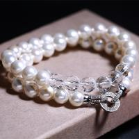 MARVELOUS ! 8MM MAN MADE PEARL & FLAWLESS CREATED DIAMOND 925 STERLING SILVER BRACELET