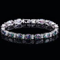 CHARMING ! CREATED MYSTIC GEMSTONE & FLAWLESS CREATED DIAMOND 18K GOLD PLATED GERMAN SILVER BRACELET