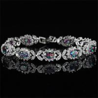 GORGEOUS ! CREATED MYSTIC GEMSTONE & FLAWLESS CREATED DIAMOND 18K GOLD PLATED GERMAN SILVER BRACELET