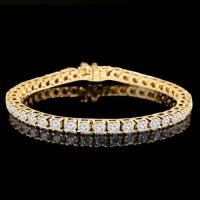37.22 CARAT FLAWLESS CREATED DIAMOND 10KT SOLID GOLD TENNIS BRACELET