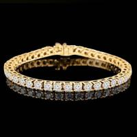 PRECIOUS !  36.11 CARAT (27 PCS) FLAWLESS CREATED DIAMOND 14KT SOLID GOLD TENNIS BRACELET