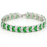 EXQUISITE !11 CARAT (22 PCS) CREATED EMERALD & 10 CARAT (22 PCS) CREATED WHITE TOPAZ 18K GOLD PLATED GERMAN SILVER BRACELET