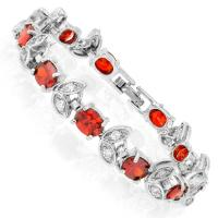 AWESOME ! 11 CARAT (11 PCS) CREATED RUBY & 1 CARAT (20 PCS) CREATED FLAWLESS DIAMOND 18K GOLD PLATED GERMAN SILVER BRACELET