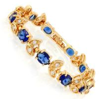 DAZZLING ! 11 CARAT CREATED SAPPHIRE & 1 CARAT FLAWLESS CREATED DIAMOND 18K GOLD PLATED GERMAN SILVER BRACELET