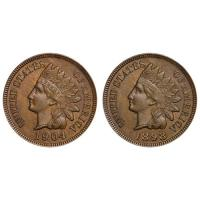 ANTIQUE COINS ! 2 LOT (1) 1800s & (1) 1900s INDIAN HEAD PENNY GOOD CIRCULATED CONDITION
