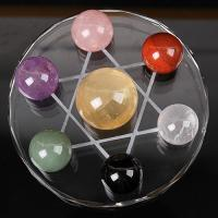 IDEAL ! NUTURAL MULTI COLOR CRYSTAL SEVEN STAR ARRAY CRYSTAL SPHERE BALL WITH BASE