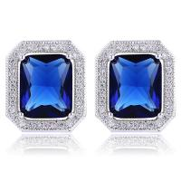 BEAUTEOUS ! CREATED SAPPHIRE & FLAWLESS CREATED SOLITAIRE 925 STERLING SILVER EARRINGS
