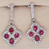 FANTASTIC ! CREATED PINK SAPPHIRE & FLAWLESS CREATED DIAMOND 925 STERLING SILVER HOOP EARRINGS
