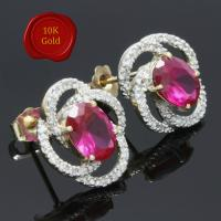 SUPERB ! 4 CARAT CREATED RUBY & 1/5 CARAT DIAMOND 10KT SOLID GOLD EARRINGS