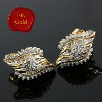 GLAMOROUS ! 1/2 CARAT DIAMOND 10KT SOLID GOLD EARRINGS