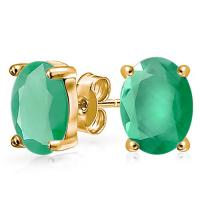 SMASHING ! 1 CARAT EMERALD 14KT SOLID GOLD EARRINGS STUD