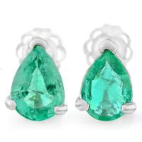 MARVELOUS !  1 CARAT EMERALD 14KT SOLID GOLD EARRINGS
