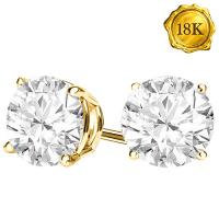 GORGEOUS ! 3MM DIAMOND 18KT SOLID GOLD EARRINGS STUD