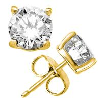 2.77 CARAT FLAWLESS CREATED DIAMOND 14KT SOLID GOLD EARRINGS STUD
