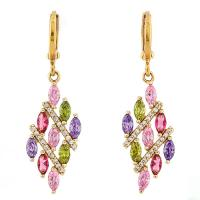 SMASHING ! CREATED MULTI COLOR SAPPHIRE & FLAWLESS CREATED DIAMOND 18K GOLD PLATED GERMAN SILVER EARRINGS