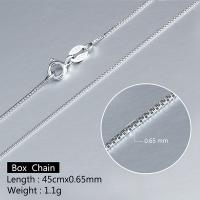 ADORABLE ! 18 INCHES 0.9MM 925 STERLING SILVER BOX NECKLACE