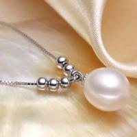 MAGNIFICENT !  9MM FRESH WATER PEARL 925 STERLING SILVER NECKLACE