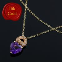 ALLURING !  2.50 CARAT AMETHYST & (10 PCS) WHITE SAPPHIRE 10KT SOLID GOLD NECKLACE