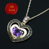 SPLENDID !  1.10 CARAT AMETHYST & 1/4 CARAT (26 PCS) SMOKY QUARTZ 10KT SOLID GOLD NECKLACE