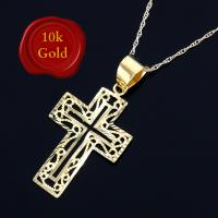 IMMACULATE ! ART DECO 10KT SOLID GOLD CROSS NECKLACE