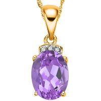 MARVELOUS ! 1 CARAT AMETHYST & DIAMOND 10KT SOLID GOLD PENDANT