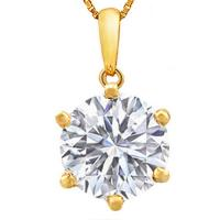 1.82 CARAT CREATED WHITE SAPPHIRE 14KT SOLID GOLD PENDANT