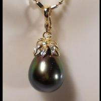 ANCIENT COLLECTION 11.6x13.8MM GENUINE TAHITIAN BLACK PEARL WITH 3 GENUINE DIAMONDS. 14KT SOLID GOLD PENDANT