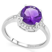 IMMACULATE ! 1.80 CARAT AMETHYST & 1/5 CARAT (22 PCS) CREATED WHITE SAPPHIRE 925 STERLING SILVER RING