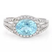 MESMERIZING ! 2.15 CARAT BABY SWISS BLUE TOPAZ & DIAMOND 925 STERLING SILVER RING
