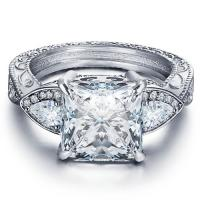 SPARKLING ! FLAWLESS CREATED DIAMOND SOLITAIRE 925 STERLING SILVER ENGAGEMENT RING