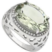 IMMACULATE ! 7.77 CARAT GREEN AMETHYST & 1/5 CARAT (30 PCS) CREATED WHITE SAPPHIRE 925 STERLING SILVER RING