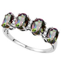 EXQUISITE ! 1.67 CARAT MYSTIC GEMSTONE & DIAMOND 10KT  SOLID GOLD BAND RING