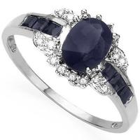 ALLURING ! 1 CARAT BLACK SAPPHIRE & 1/4 CARAT SAPPHIRE 10KT SOLID GOLD RING