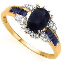 SUPERB !  1 CARAT BLACK SAPPHIRE & 1/3 CARAT SAPPHIRE 10KT  SOLID GOLD RING