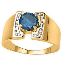 FASCINATING!  1/2 CARAT (17 PCS) BLUE DIAMOND 14KT SOLID GOLD RING