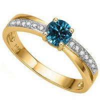 FANTASTIC !  1/3 CARAT (15 PCS) BLUE DIAMOND 14KT SOLID GOLD RING
