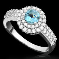 ADORABLE ! CREATED BLUE TOPAZ & FLAWLESS CREATED DIAMOND 18K GOLD PLATED GERMAN SILVER RING