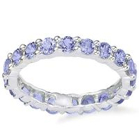 MESMERIZING !  2.19 CARAT (20 PCS) TANZANITE 14KT SOLID GOLD ETERNITY RING