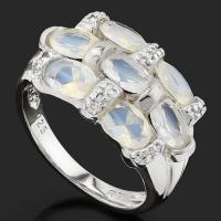 LUXURIANT ! 2.22 CARAT (7 PCS) CREATED ETHIOPIAN OPAL & (14 PCS) DIAMOND 925 STERLING SILVER RING