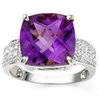 BEAUTEOUS !  6.18 CARAT AMETHYST & (16 PCS) DIAMOND 925 STERLING SILVER RING