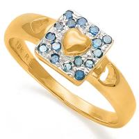 DAZZLING !  1/5 CARAT (16 PCS) BLUE DIAMOND 10KT SOLID GOLD ENGAGEMENT RING