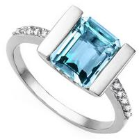 ADORABLE ! 3.36 CARAT BABY SWISS BLUE TOPAZ & (10 PCS) DIAMOND 925 STERLING SILVER RING