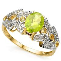 1.10 CT MULTI COLOR GEMSTONE & DIAMOND (VS CLARITY) 10KT SOLID GOLD RING